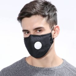 Cotton Face Mask with Exhalation Valve and PM2.5 Filter, Anti Pollution, Reusable, Washable (2 Pack)
