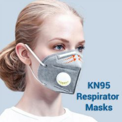 Lady with Gray KN95 Respirator Face Mask with Exhalation Valve Filter