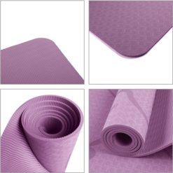 """TPE Eco-Friendly Yoga Mat 1:4"""" Thick Non-slip Waterproof with Alignment Lines"""