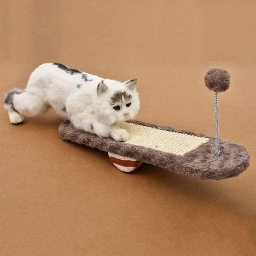 Cat Scratcher Seesaw Toy with Fur Ball
