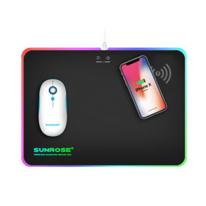Smartphone Wireless Charging Mouse Pad with LED Lights