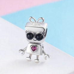Sterling Silver Bot Charm Necklace