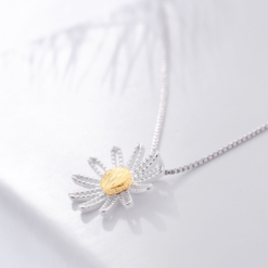 Sterling Silver Flower Necklace Pendant