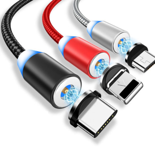 USB Magnetic Phone Charging Cable with 3 Plugs