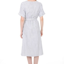 Women's Belted Faux Button Short Sleeves Dress