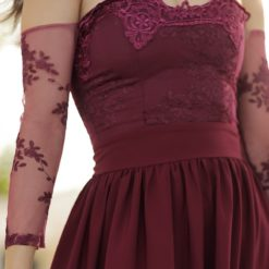 Women's Lace Sleeves Slit Claret Red Long Evening Dress