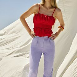 Women's Gimped Red Blouse