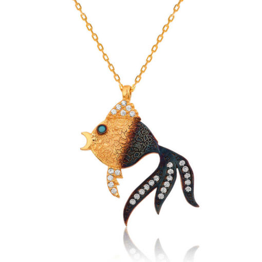 Women's Fish Pendant Gold Plated Silver Necklace