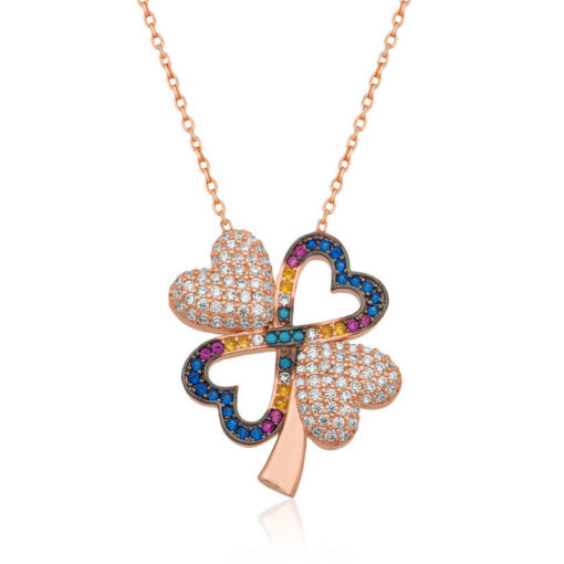 Women's Clover Pendant Rose Plated Silver Necklace