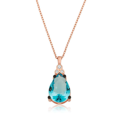 Women's Blue Drop Stone Rose Plated Silver Necklace