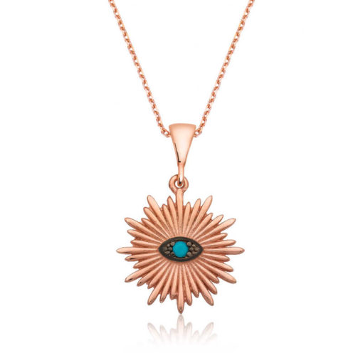 Women's Evil Eye Pendant Rose Plated Silver Necklace