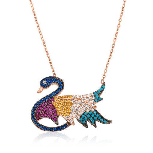 Women's Multi-color Gemmed Swan Pendant Rose Plated Silver Necklace
