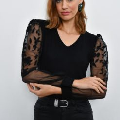 Women's Embroidered Organza Sleeves Black Blouse